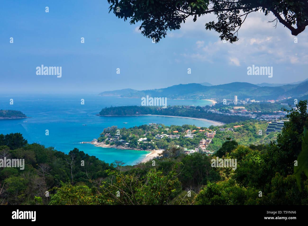 Karon View Point on Karon village, Kata and Karon beaches - Stock Image