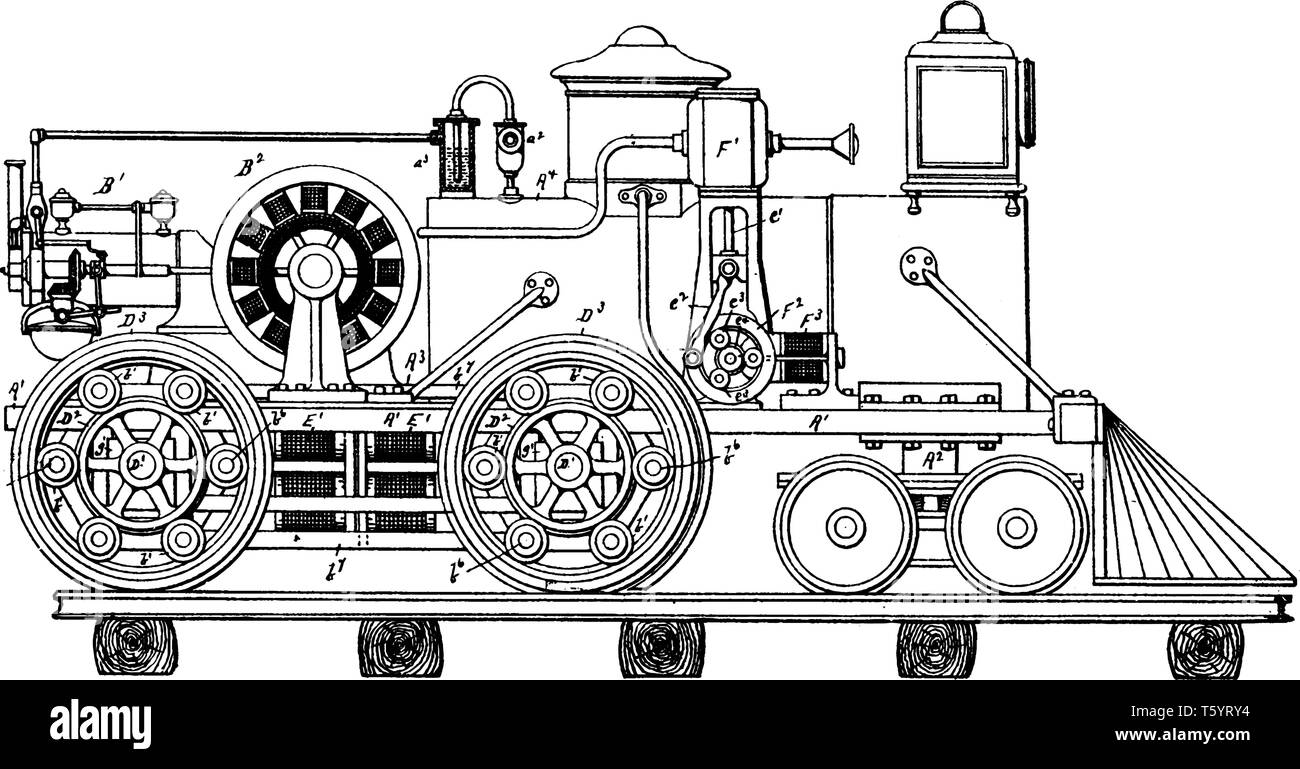 Electrically Actuated Vehicle which uses electric motors, vintage line drawing or engraving illustration. - Stock Vector