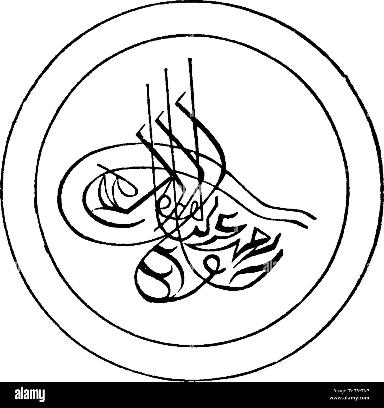 The Great Seal of Turkey which is Coat of Arms, vintage line drawing or engraving illustration. Stock Vector