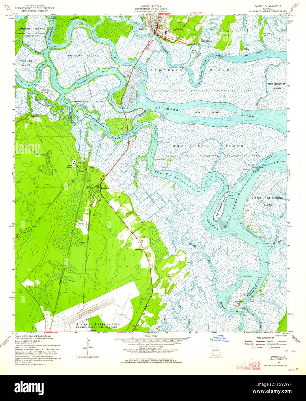 USGS TOPO Map Georgia GA Darien 245505 1956 24000 Restoration Stock Darien Georgia Map on