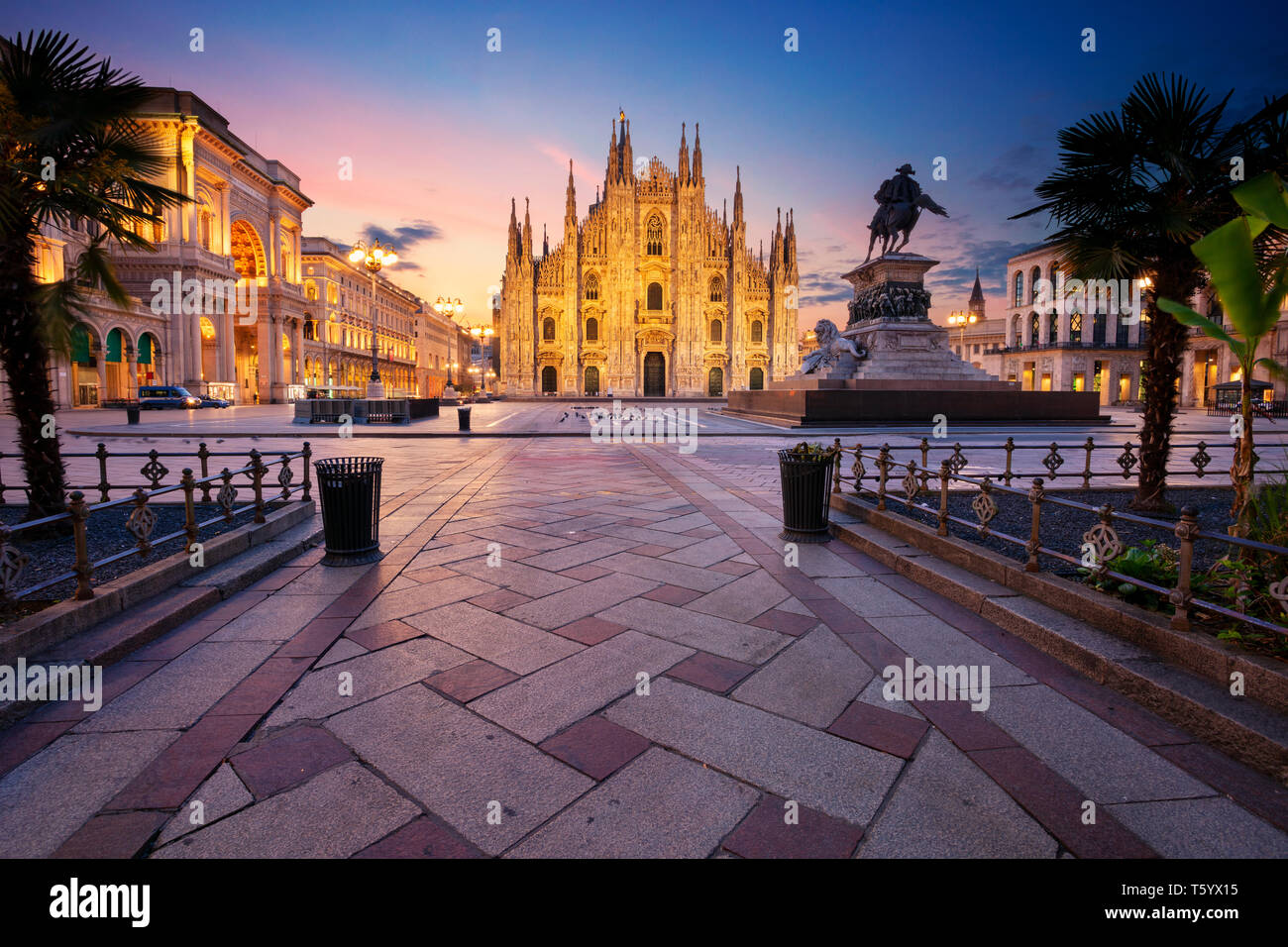 Milan, Italy. Cityscape image of Milan, Italy with Milan Cathedral during sunrise. Stock Photo