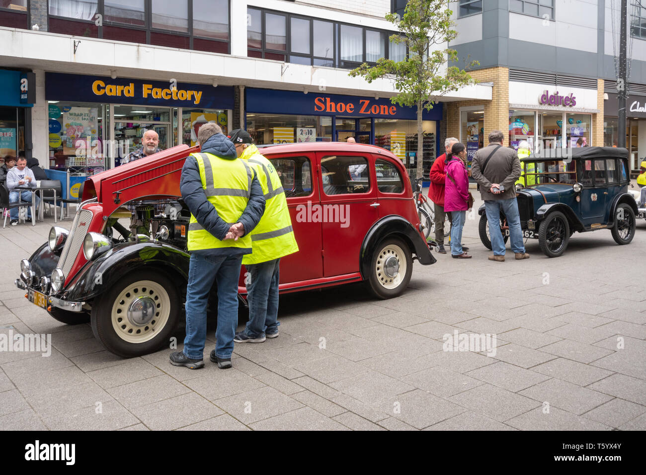 Farnborough Car Show, April 2019, classic motor vehicles on display in the town centre, Hampshire, UK Stock Photo