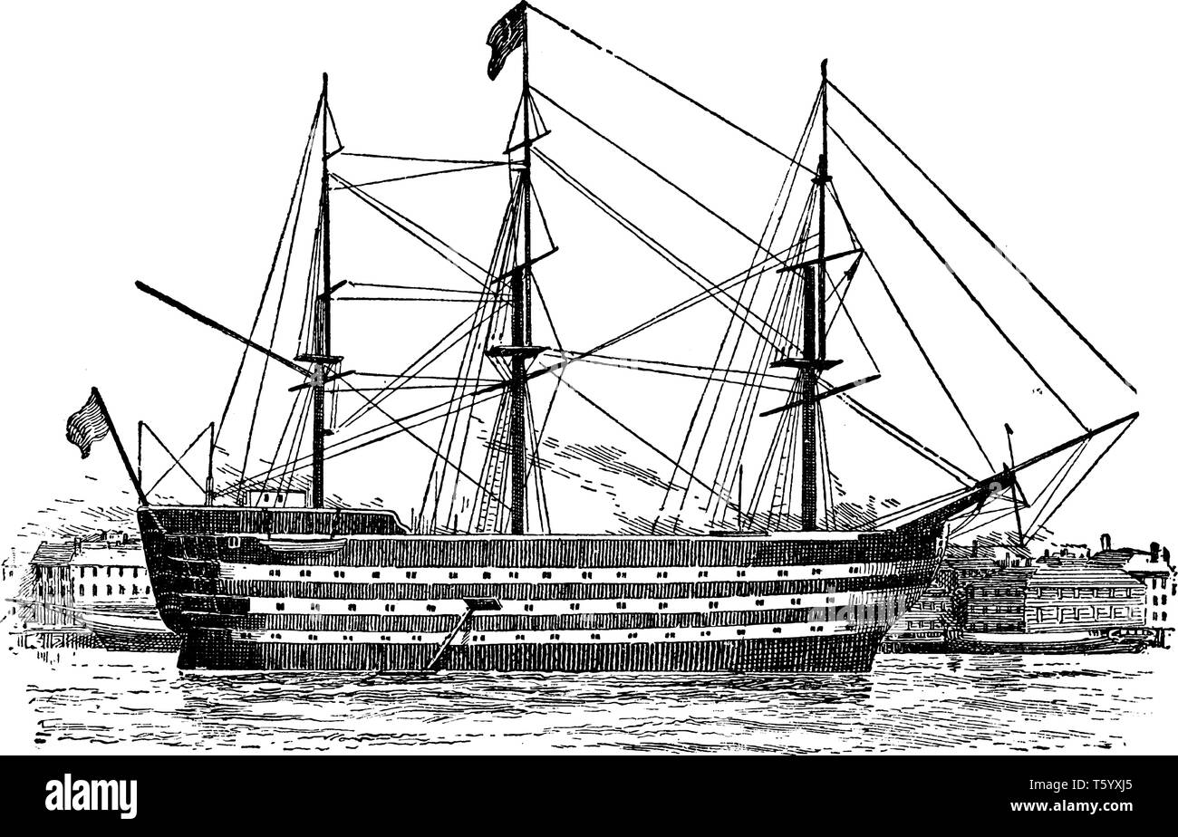 The Victory is a 104 gun first rate ship of the line of the Royal Navy ordered in 1758, vintage line drawing or engraving illustration. - Stock Vector