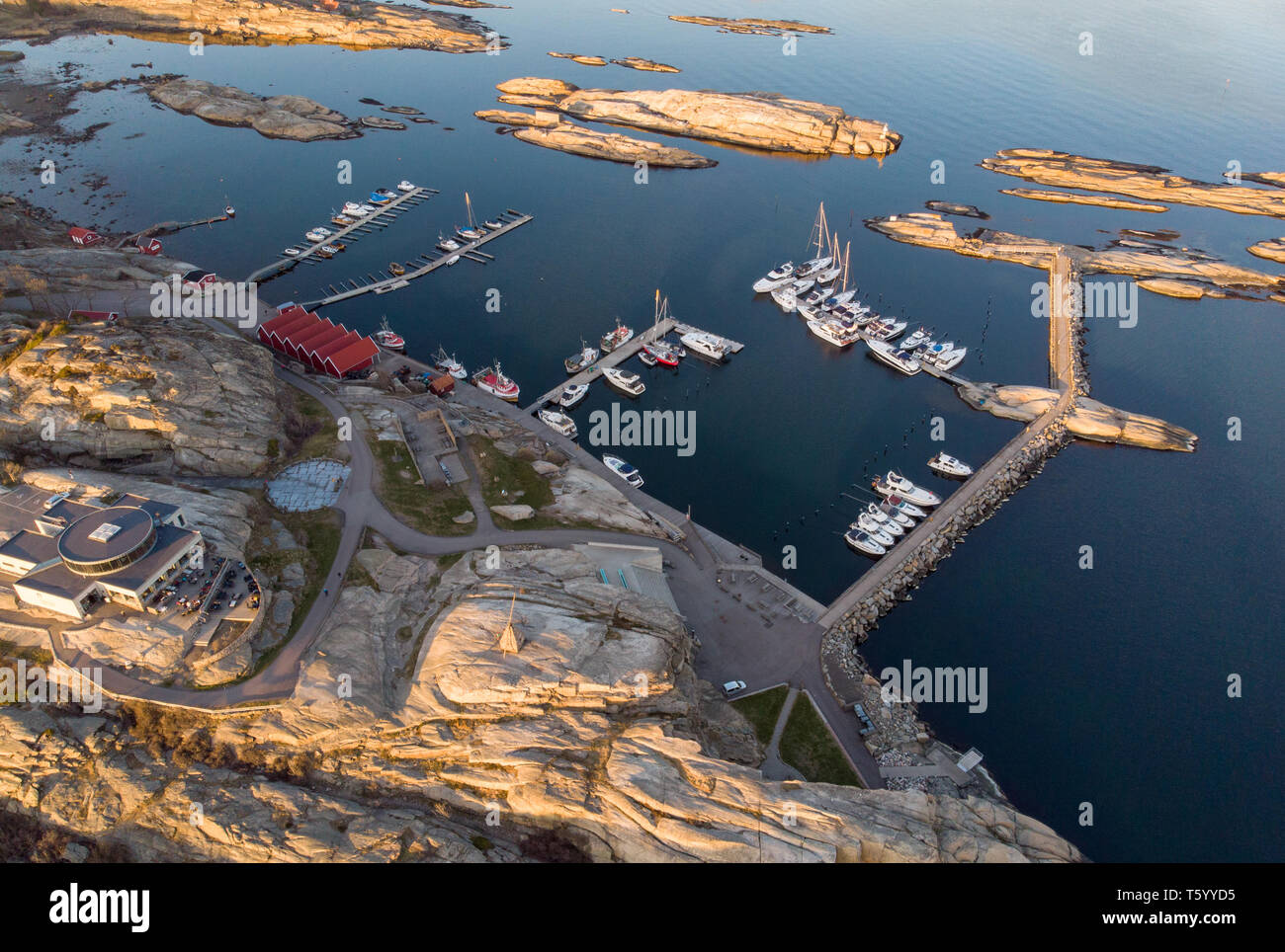 'The world's end' rocks, visitor centrum and yacht harbour from a drone in Tjøme, Norway - Stock Image