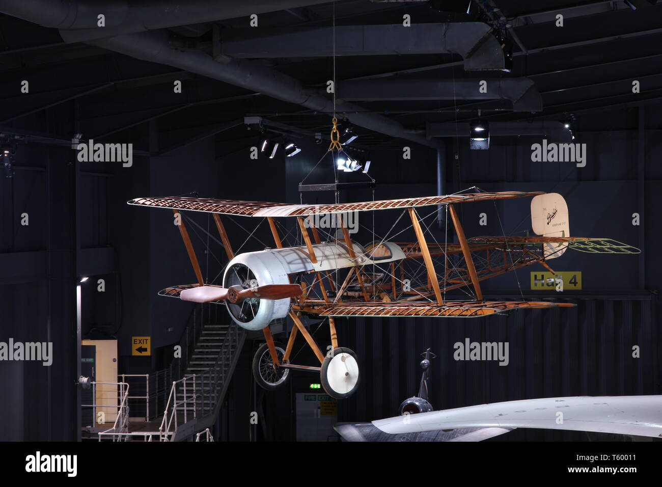 A First World War age Bristol Scout D is hung in hall 4 of Fleet Air Arm Museum in Yeovilton, Someset, England. - Stock Image