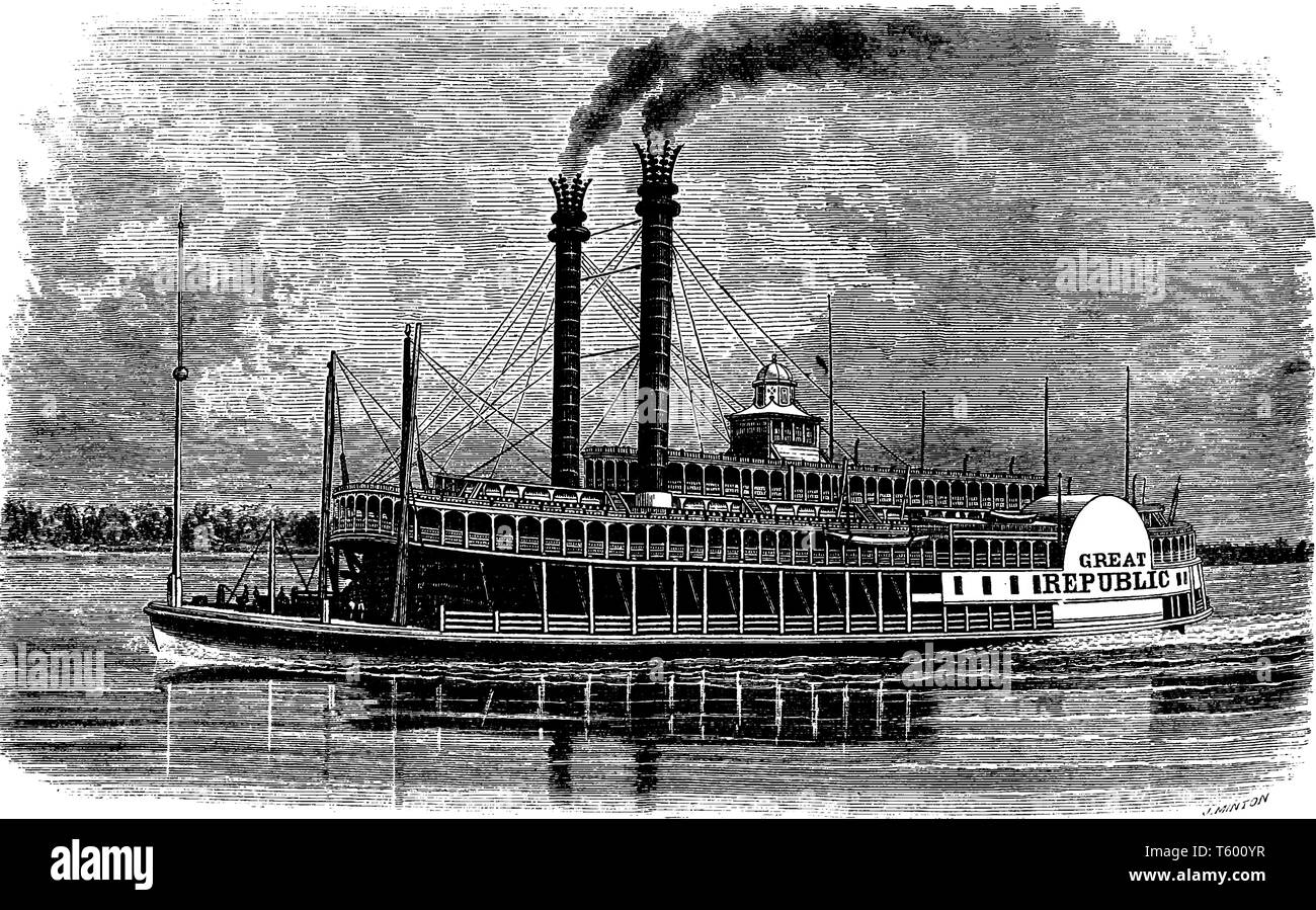 Riverboat is a watercraft designed for inland navigation on lakes rivers and artificial waterways, vintage line drawing or engraving illustration. - Stock Vector