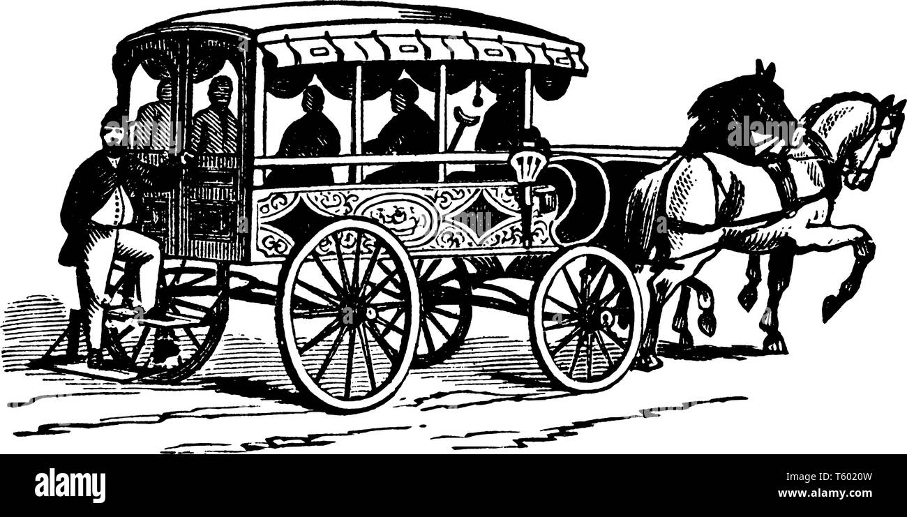 Philadelphia Firemen Ambulance is believed that the earliest use of ambulances occurred during the Civil War, vintage line drawing or engraving illust - Stock Image