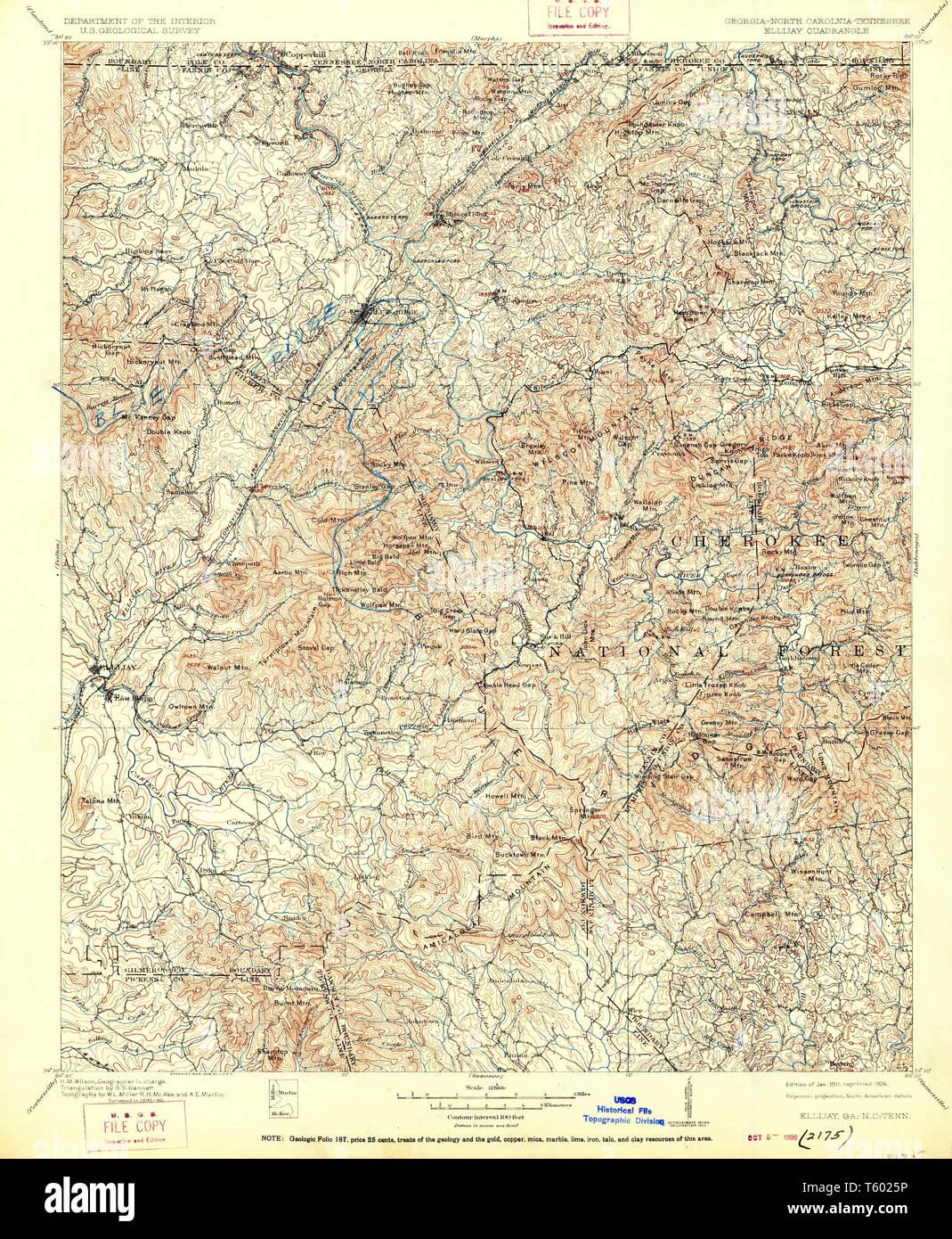 Map Of Georgia Ellijay.Usgs Topo Map Georgia Ga Ellijay 247741 1911 125000 Restoration
