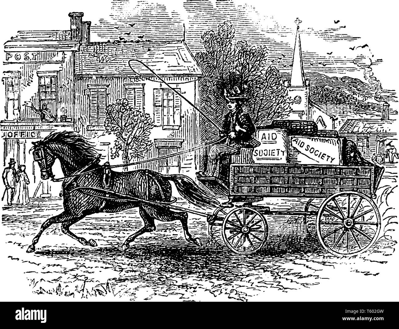 Carriage Horse Where A Woman Driving A Horse And Carriage Vintage Line Drawing Or Engraving Illustration Stock Vector Image Art Alamy