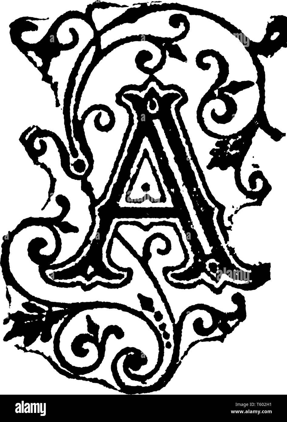 Decorative Letter A.A Decorative Capital Letter A Vintage Line Drawing Or