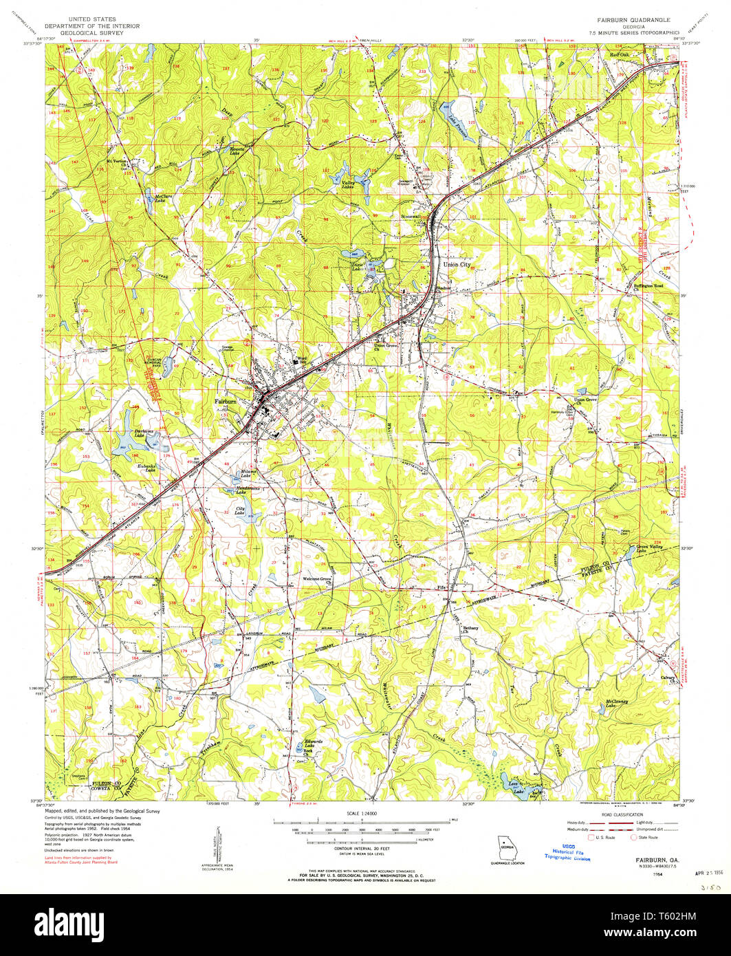 Show A Map Of Georgia.Usgs Topo Map Georgia Ga Fairburn 245675 1954 24000 Restoration