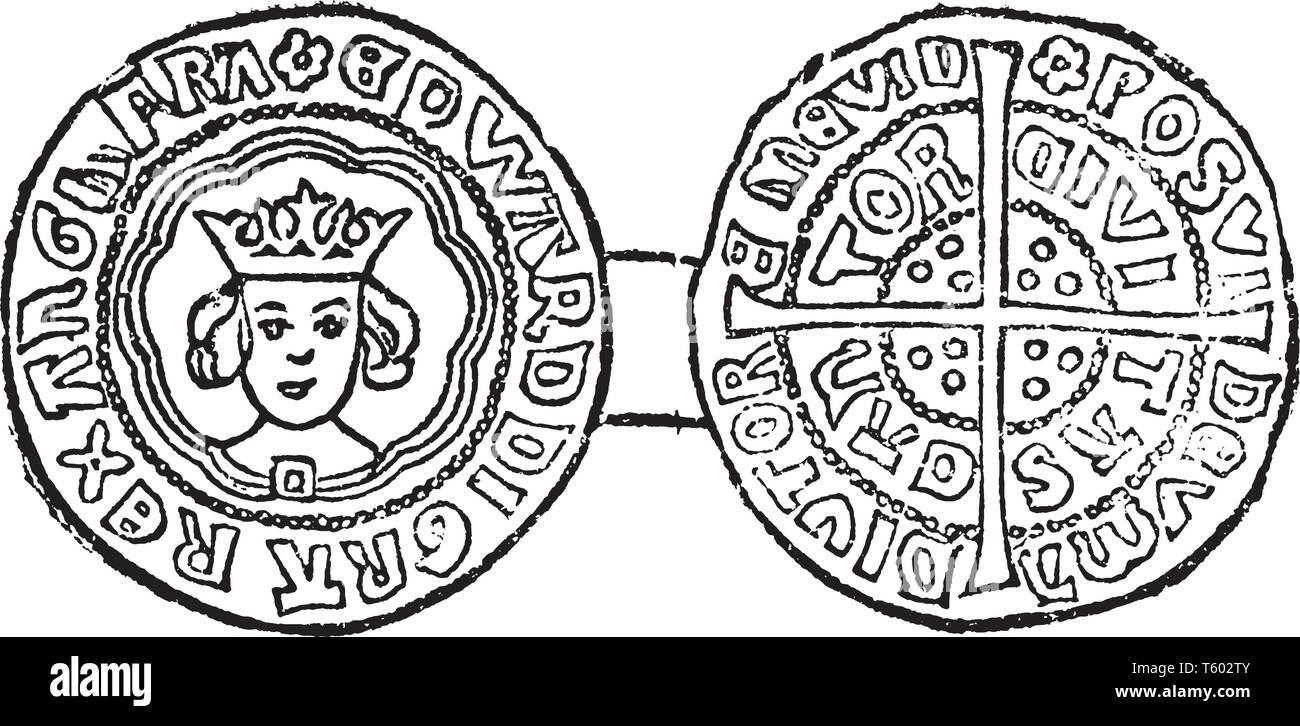 Coin of Edward IV Irish silver into coins which could circulate freely in England, vintage line drawing or engraving illustration. - Stock Vector