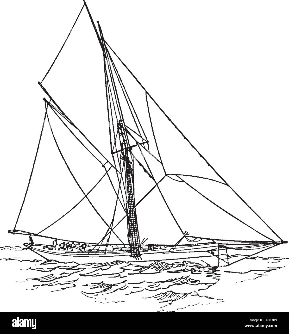 Cutter Yacht is typically a small but in some cases a medium sized watercraft designed for speed rather than for capacity, vintage line drawing or eng - Stock Vector