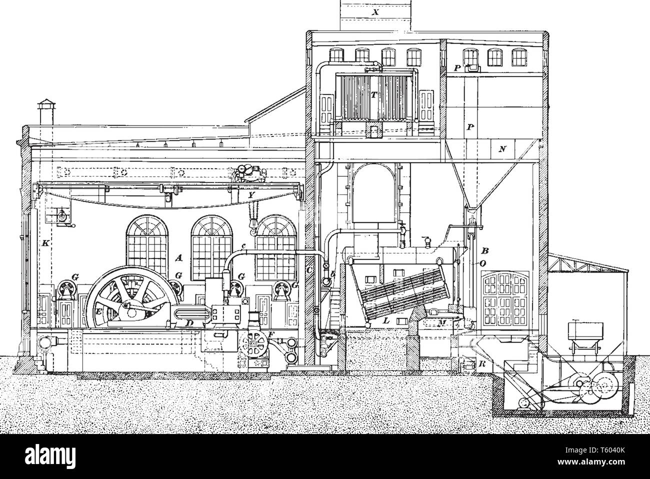 Power House is a good analogy for a modern power house of comparative capacity, vintage line drawing or engraving illustration. - Stock Vector