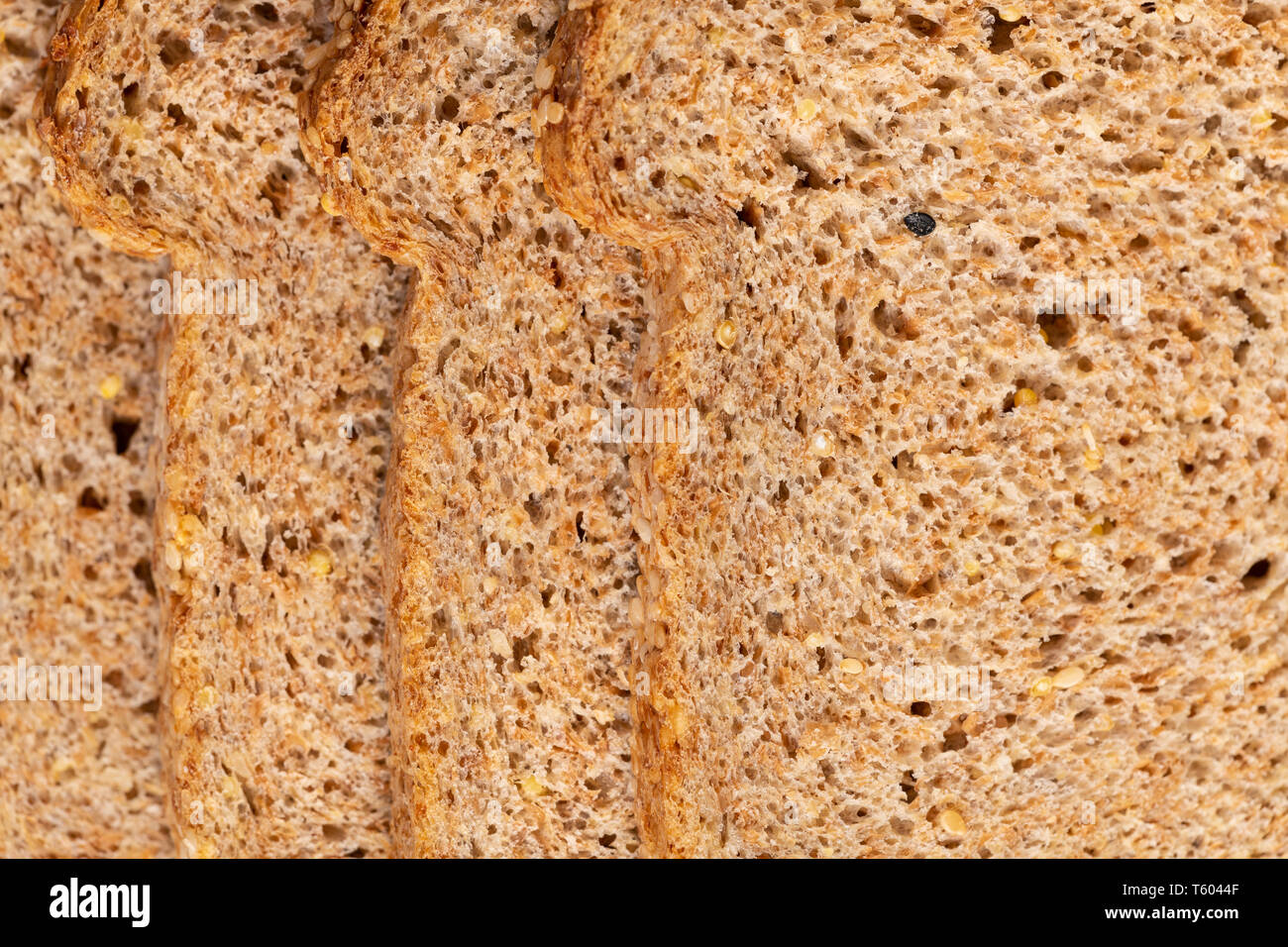 Food texture background of bread made with freshly sprouted organic grains , top view. - Stock Image