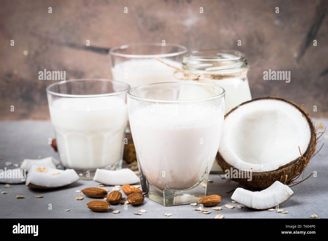 Vegan non dairy alternative milk.  - Stock Image