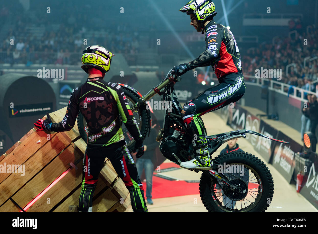 ANDORRA LA VELLA, ANDORRA : 2019 27 APRIL :  JORGE CASALES (SPAIN) takes part in the  FIM X-TRIAL WORLD CHAMPIONSHIP ANDORRA LA VELLA  takes part in t Stock Photo