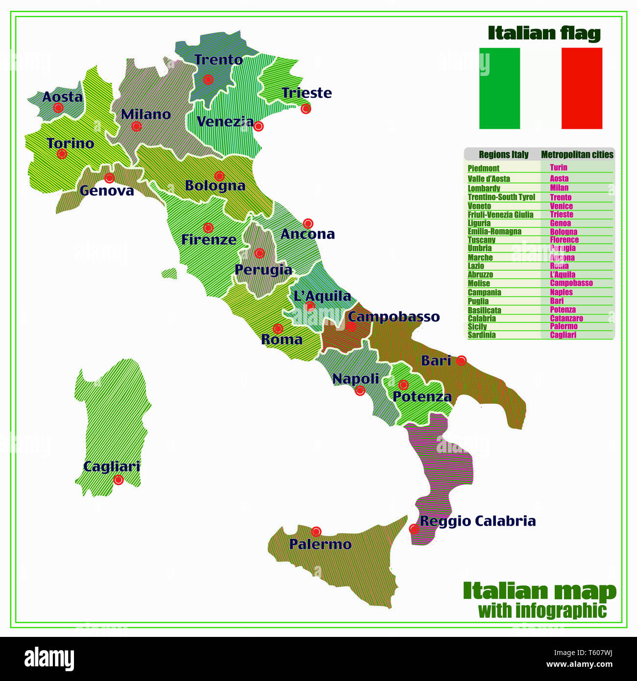 Map Of Italy With Main Cities.Map Of Italy With Infographic Colorful Illustration With Map Of