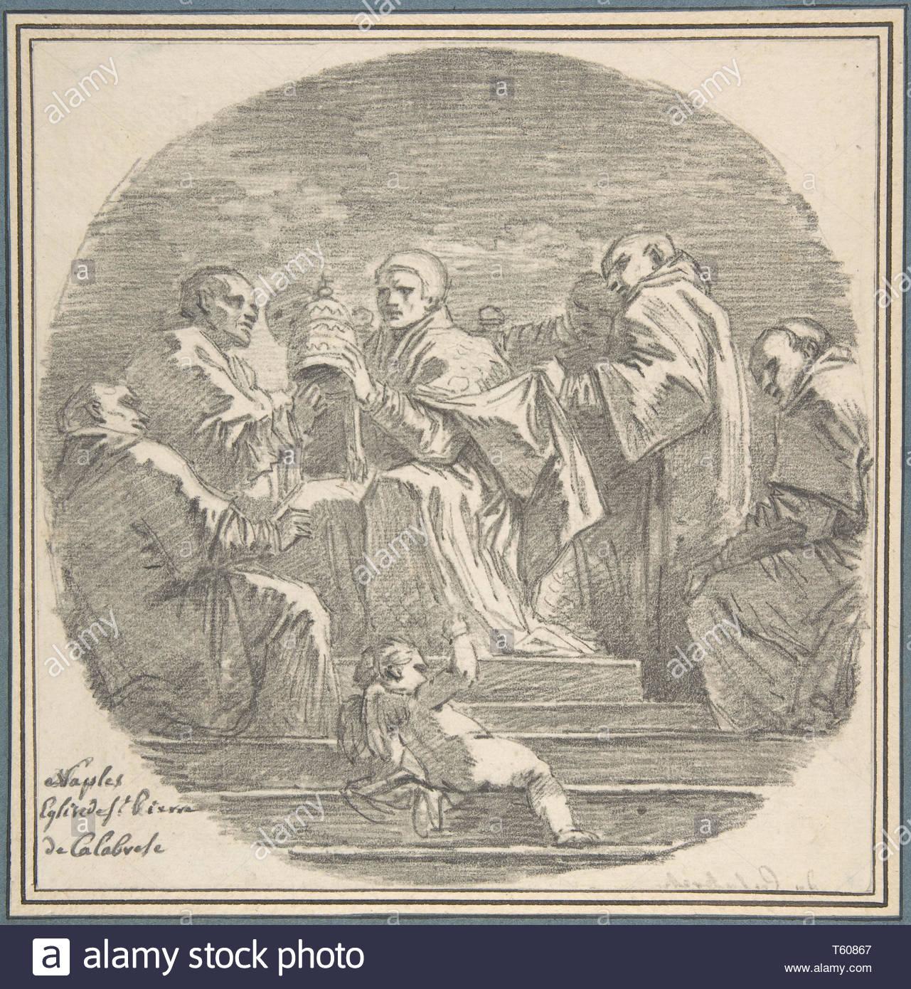 Jean Honoré Fragonard-Saint Celestine V Renouncing the Papacy - Stock Image