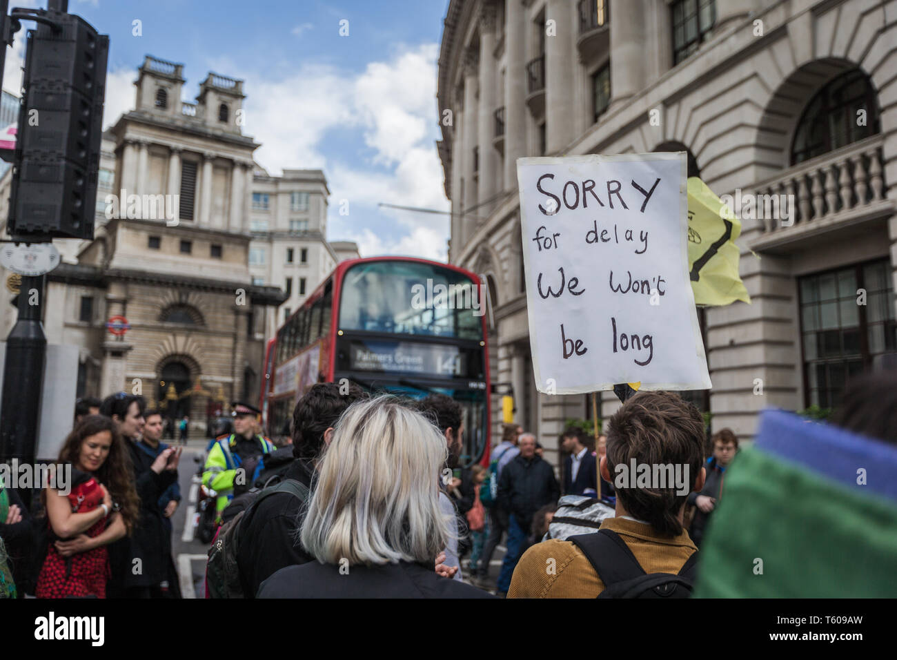 On the final day of the 12-day Extinction Rebellion protest, activists hit different parts of London causing peaceful disruption, and blockades. - Stock Image