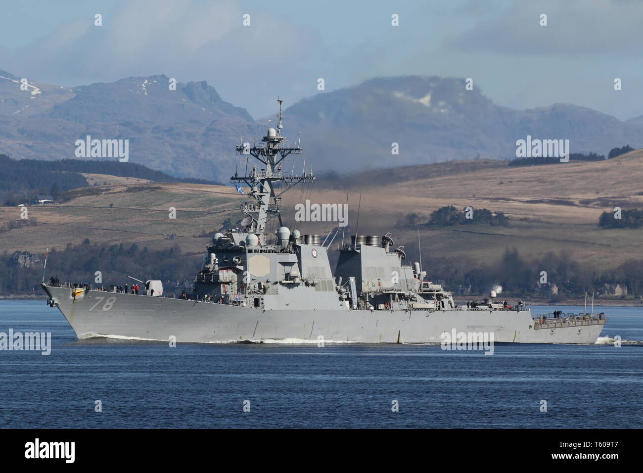 USS Porter (DDG-78), an Arleigh Burke-class destroyer operated by the United States Navy, passing Gourock at the start of Exercise Joint Warrior 19-1. Stock Photo