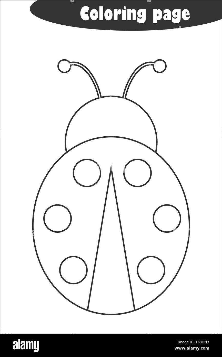 Ladybug In Cartoon Style Coloring Page Spring Education Paper Game For The Development Of Children Kids Preschool Activity Printable Worksheet Stock Vector Image Art Alamy