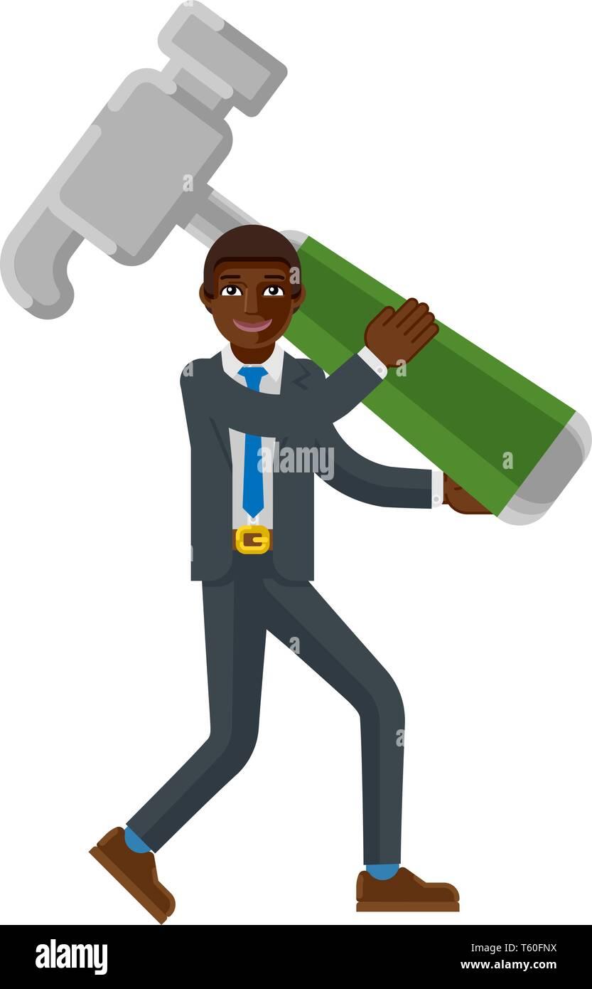 Black Business Man Holding Hammer Mascot Concept  - Stock Image