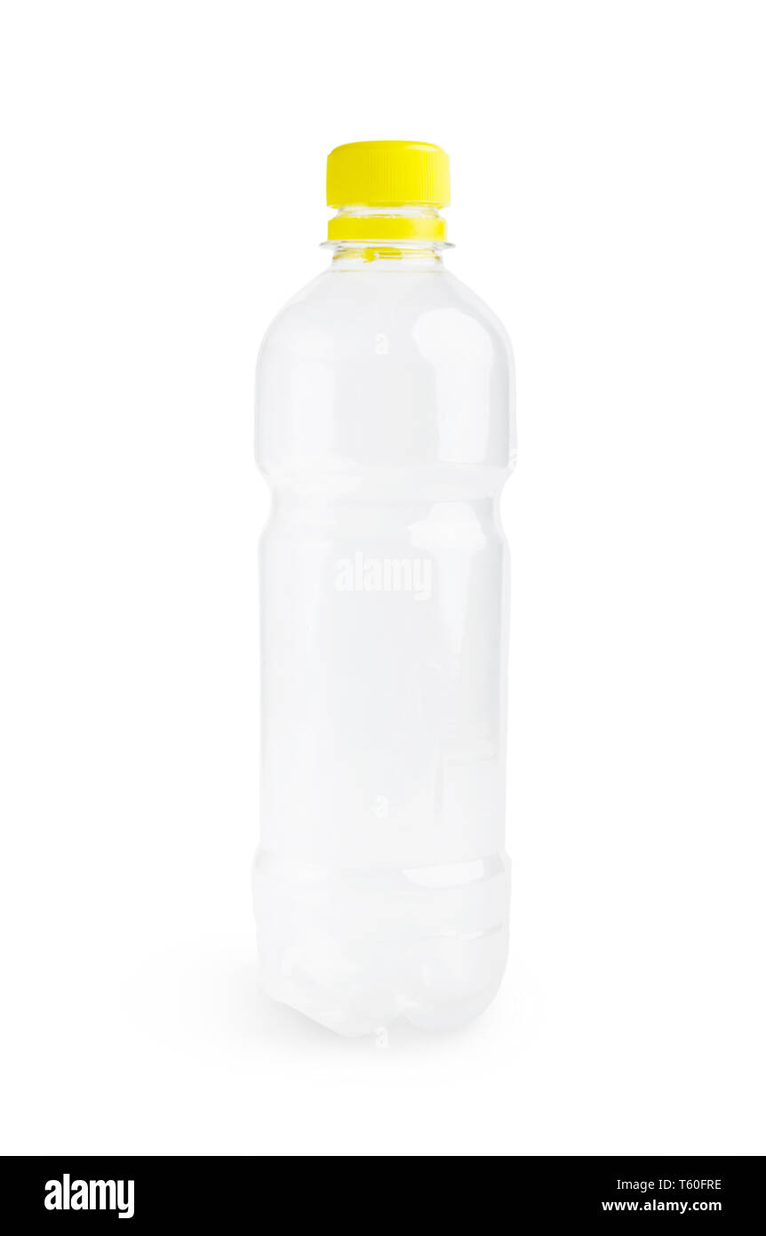 Plastic bottle on white - Stock Image