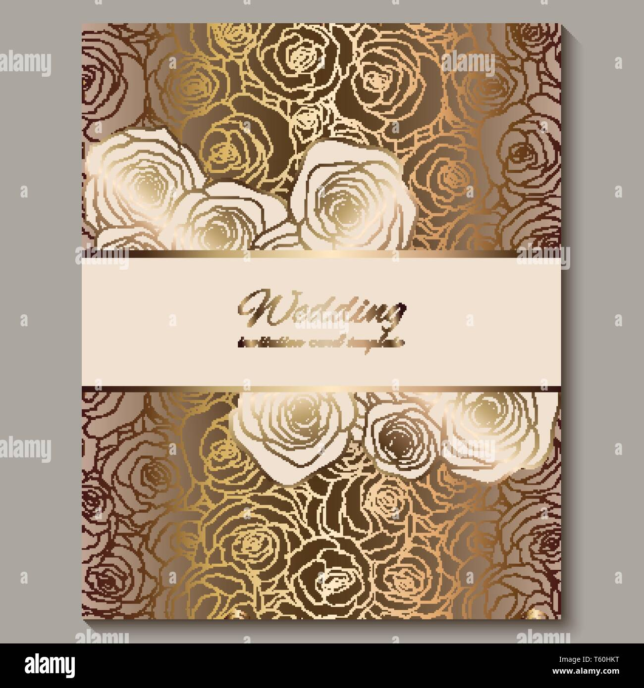 luxury gold vintage wedding invitation floral background with place for text lacy foliage made of roses with golden shiny gradient victorian wallpa stock vector image art alamy alamy