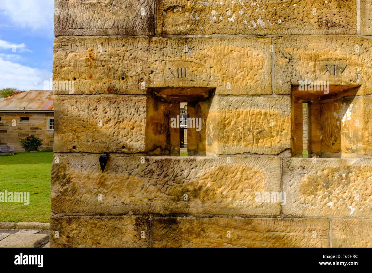 Cockatoo island Sydney, Australia, Detail of historical stone prison building built by convicts for solitary confinement of prisoners in 1800s - Stock Image