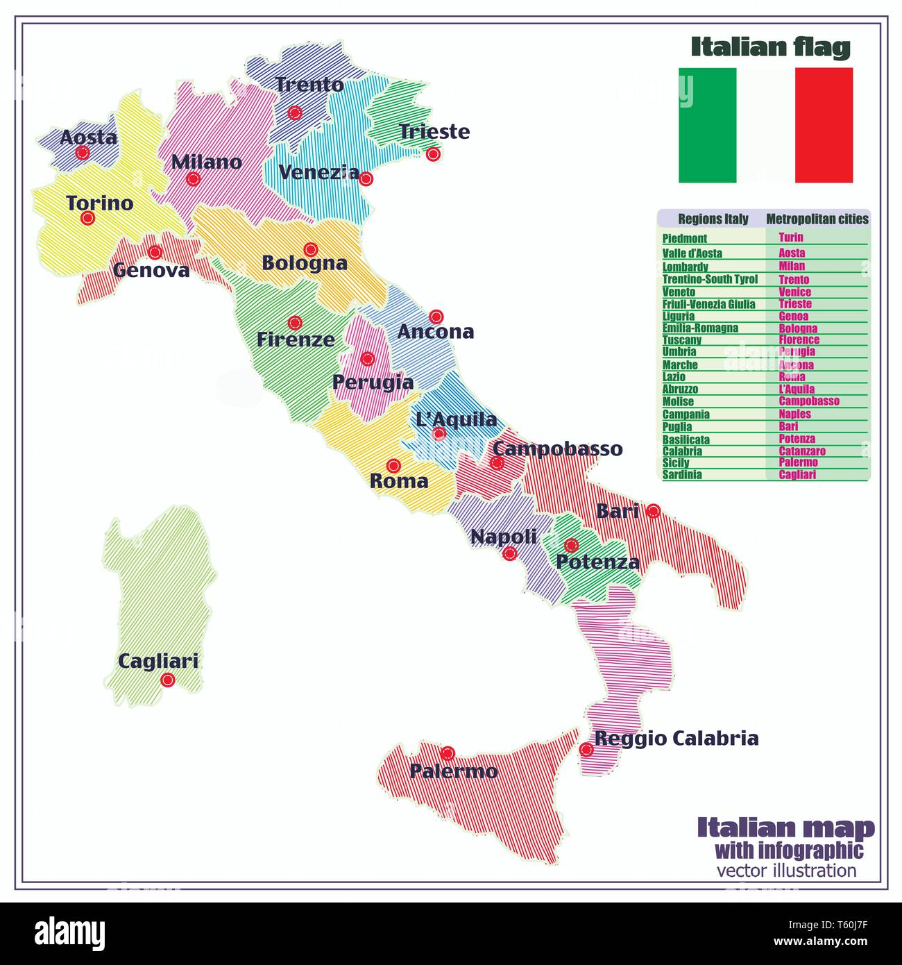 Regions Of Italy Map With Cities.Map Of Italy With Infographic Colorful Illustration With Map Of
