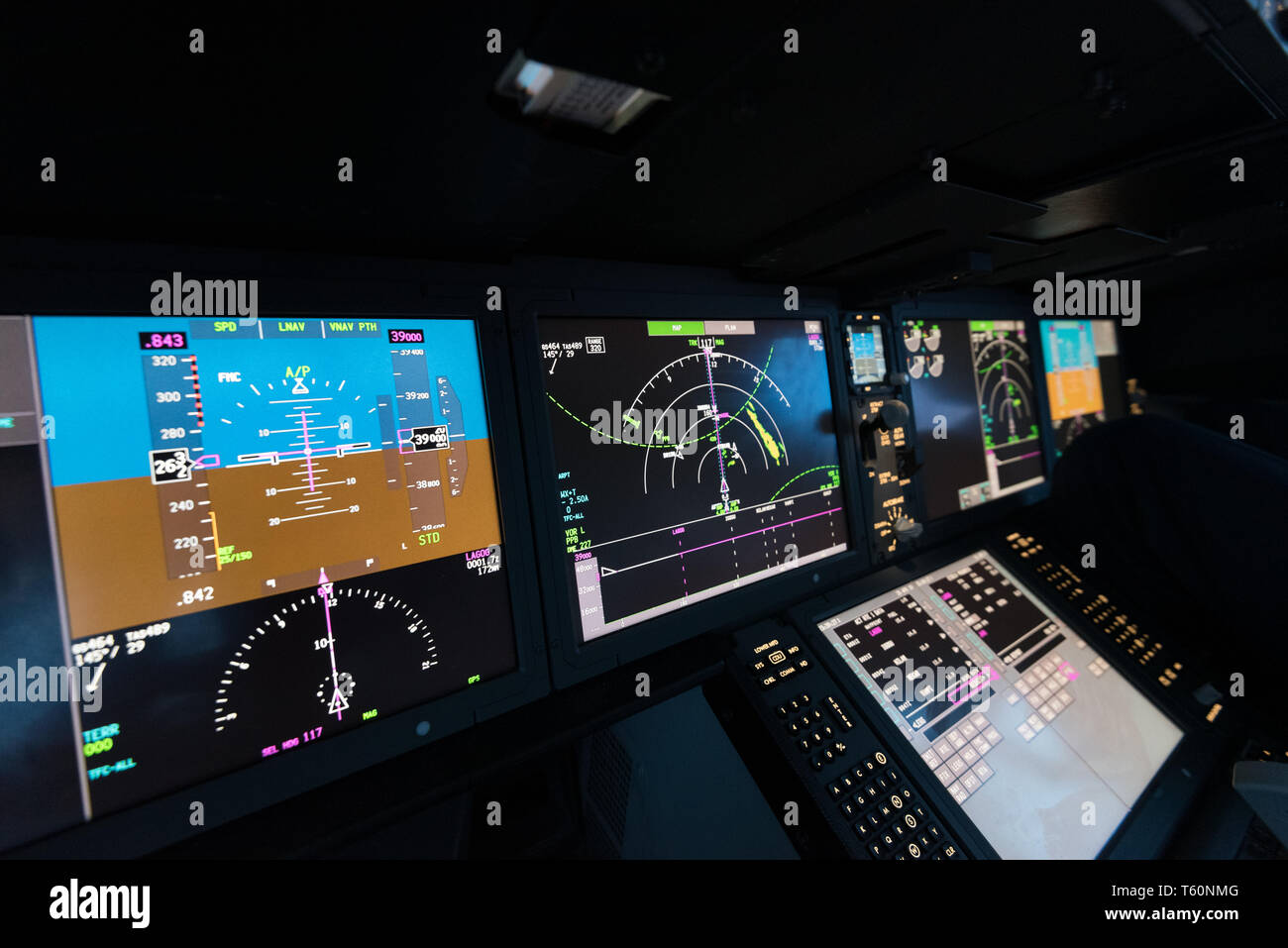 Modern aircraft flying displays - Stock Image