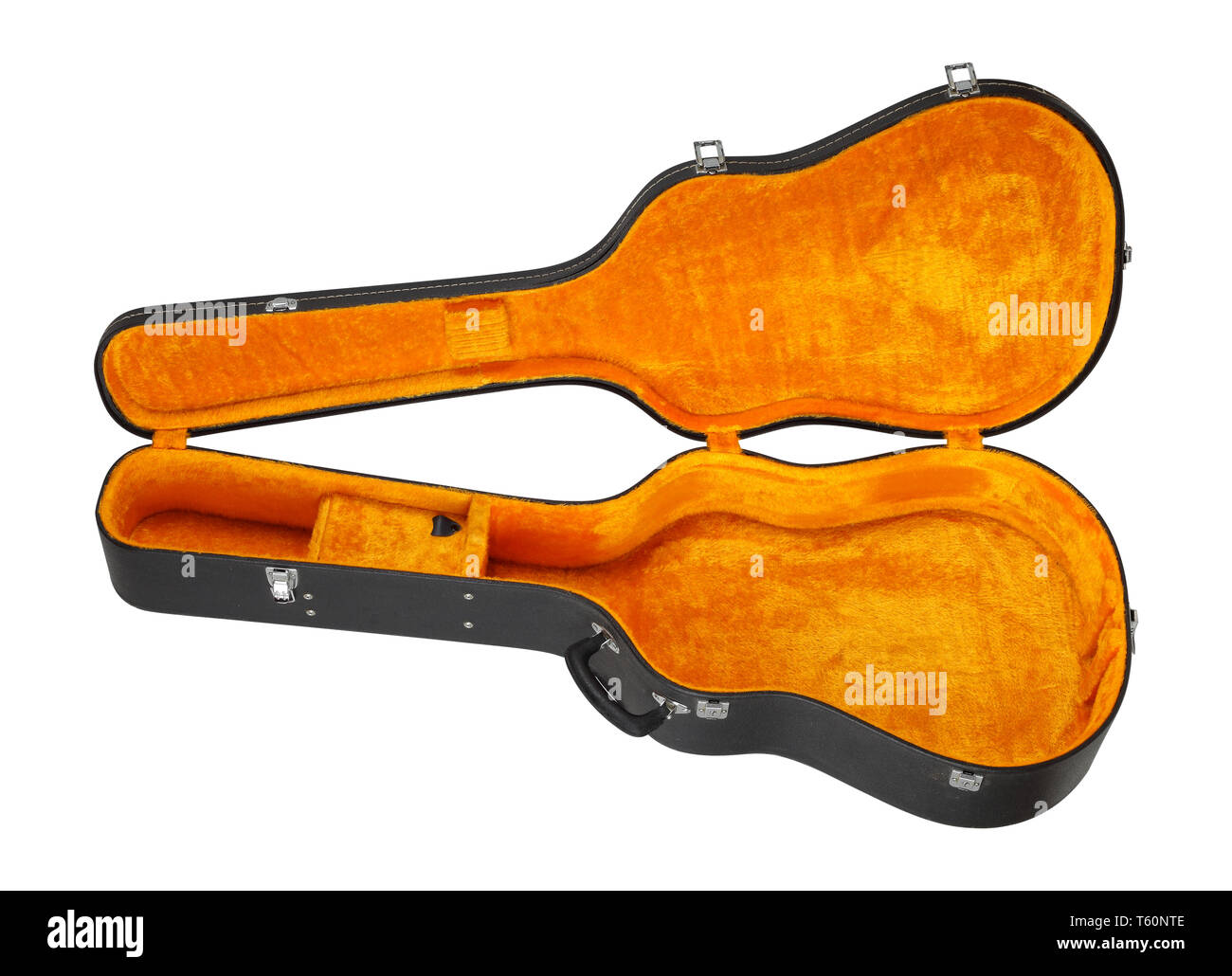 Musical instrument - Open black and yellow acoustic guitar hard case isolated on a wooden background - Stock Image