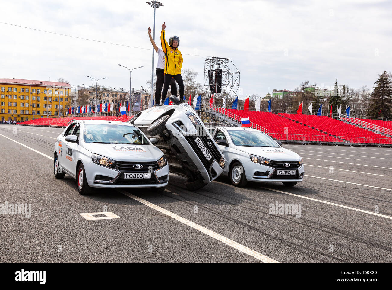 Samara, Russia - May 1, 2018: Performance of members from stuntmen team Avtorodeo Togliatti Trick during celebration First May at the central square - Stock Image