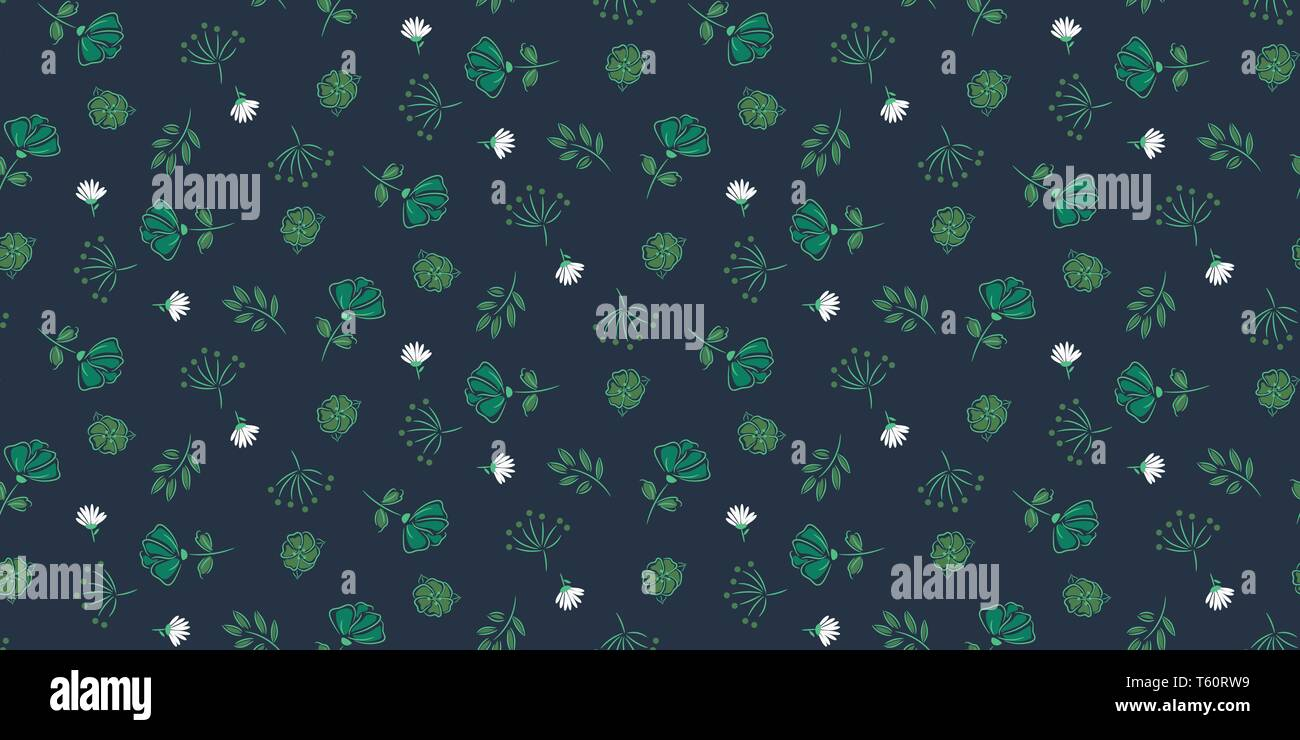 Seamless floral dark blue vector pattern hand drawn retro style. Stock Vector