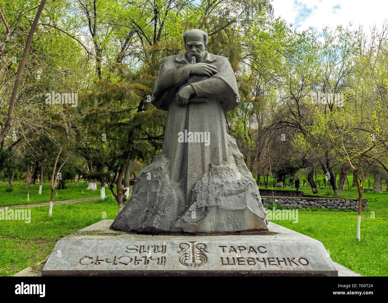 YEREVAN,ARMENIA - APRIL 18,2019: The statue of Taras Shevchenko - ukrainian poet and writer. Also known as an artist, novelist, ethnographe - Stock Image