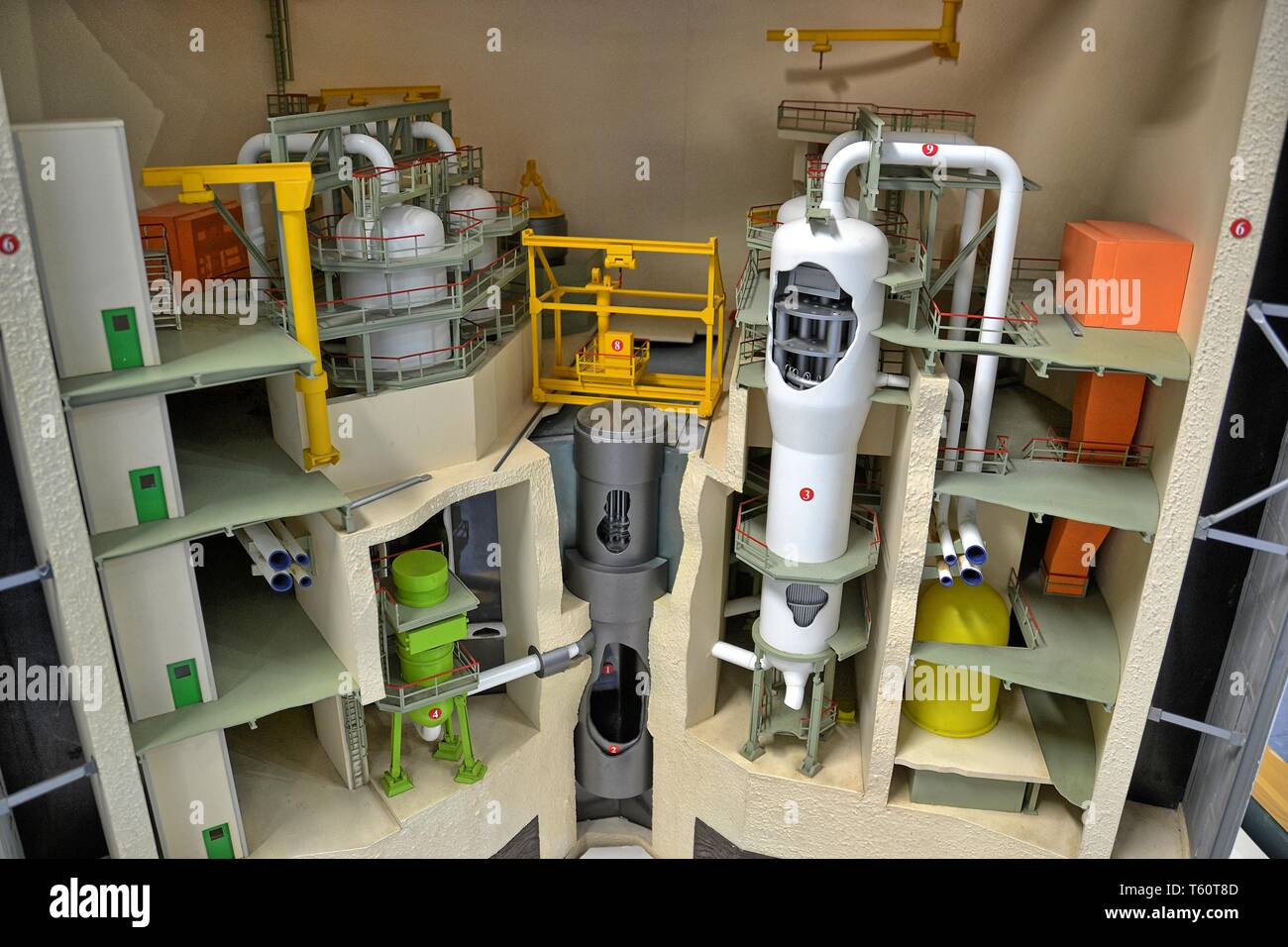 Model of machinery inside the nuclear reactor, in the Visitor Centre, at the EDF Nuclear Power Station at Sizewell, Suffolk, UK. Nuclear Power Plant - Stock Image