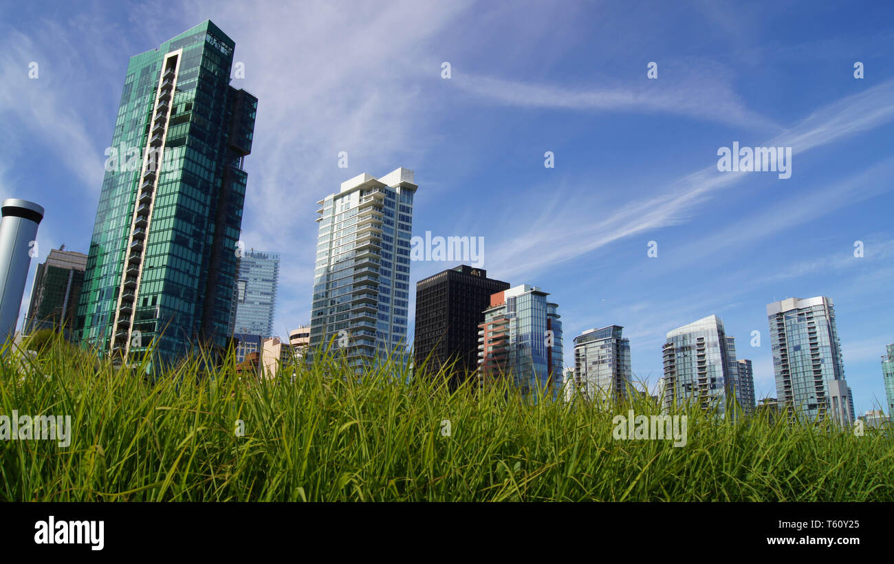 Skyline from below, Vancouver, Canada - Stock Image
