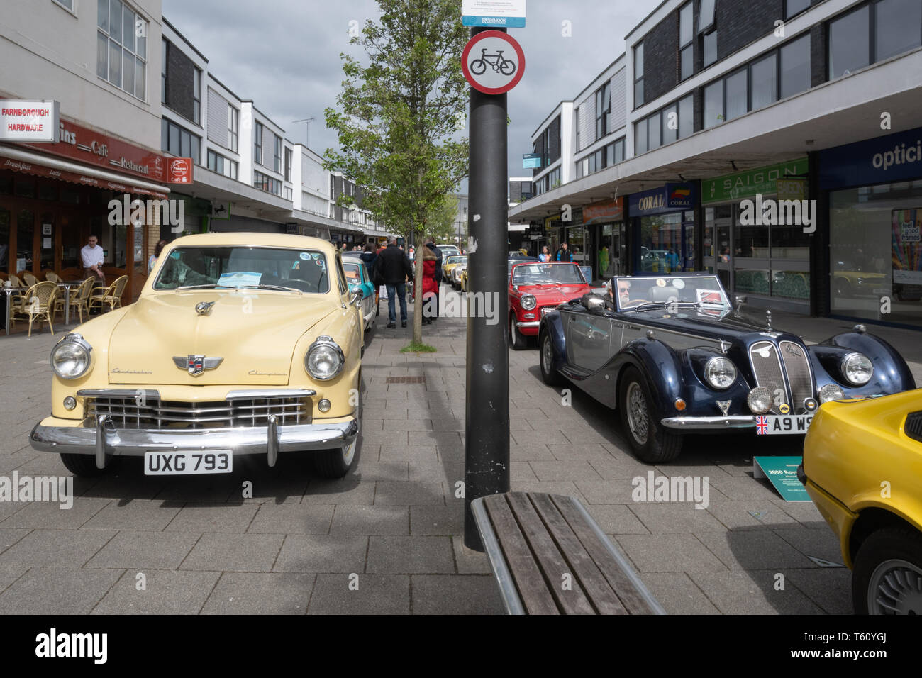 Farnborough Car Show, April 2019, classic motor vehicles on display in the town centre, Hampshire, UK - Stock Image