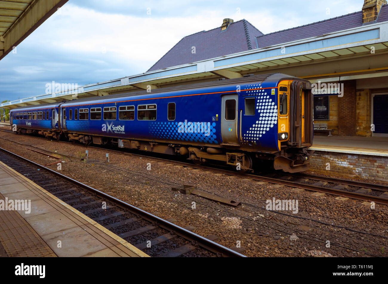 A 2-car DMU Scot Rail train in Middlesbrough Station about to depart on an eastbound service - Stock Image