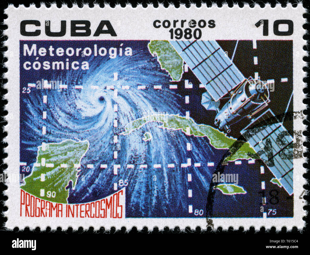 Postage stamp from Cuba in the Intercosmos Program series issued in 1980 - Stock Image