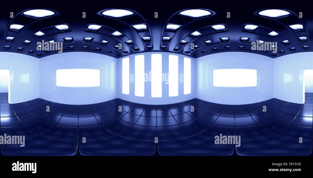 8K HDRI map, spherical environment panorama background, modern high contrast interior light source rendering (blue 3d equirectangular rendering) - Stock Image