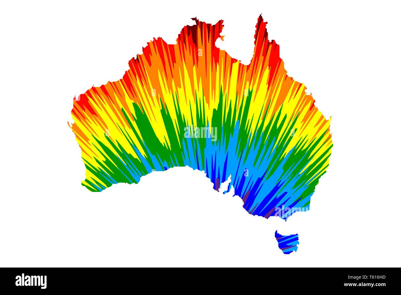 Australia continent - map is designed rainbow abstract ...