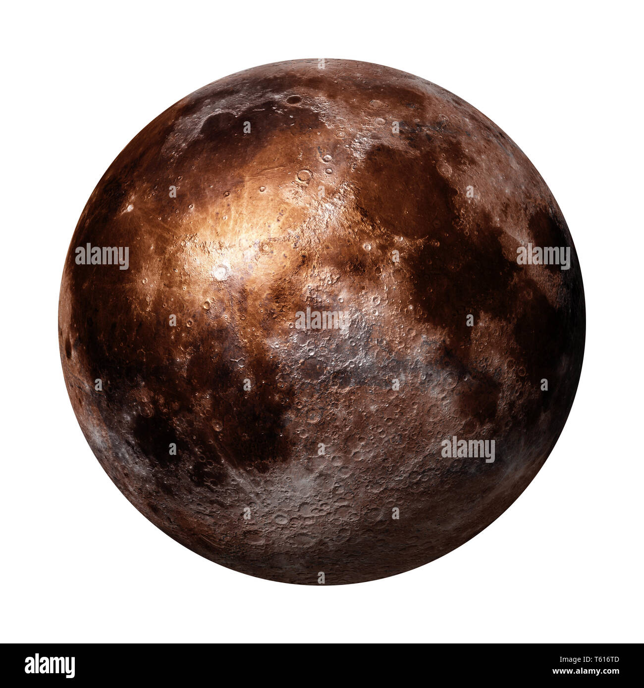 full Moon isolated on white background (3d space rendering, elements of this image are furnished by NASA) - Stock Image