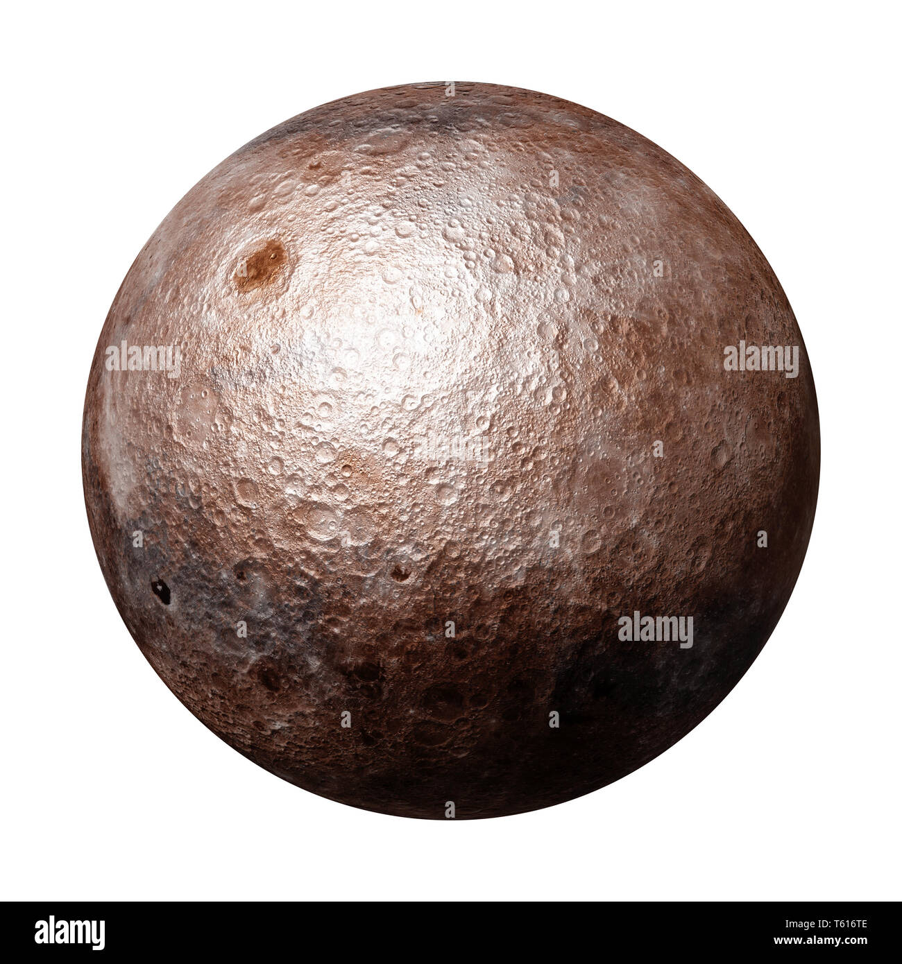 full far side of the Moon  isolated on white background (3d space rendering, elements of this image are furnished by NASA) - Stock Image