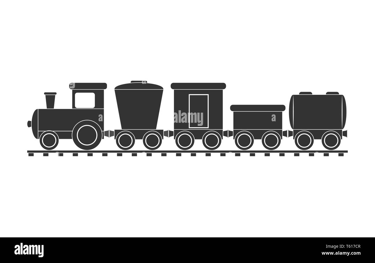 Children's freight train with steam locomotive and different carriages, flat design - Stock Vector
