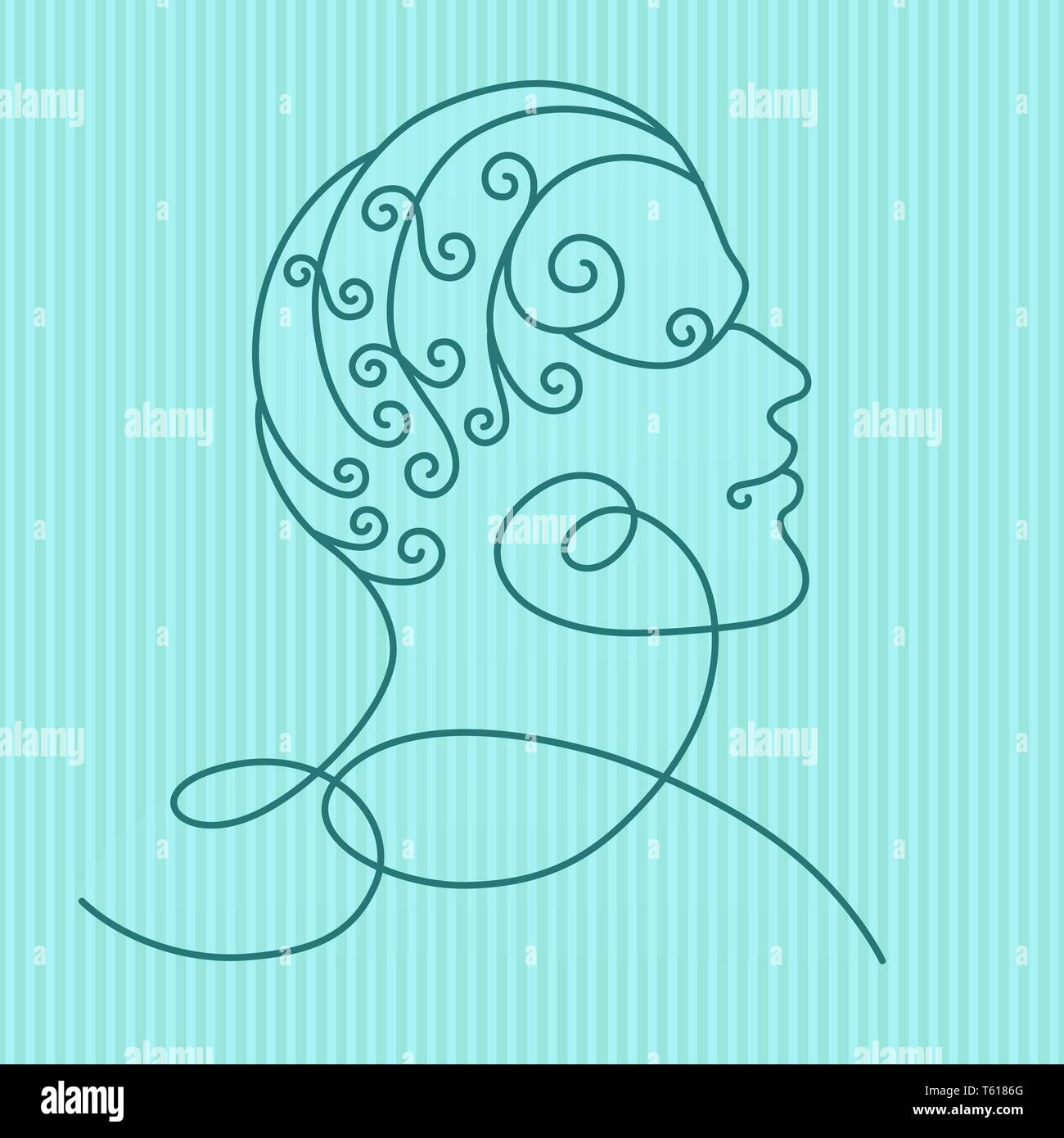 Human head profile, isolated on blue striped background. Line art. Vector illustration for your design. Stock Vector