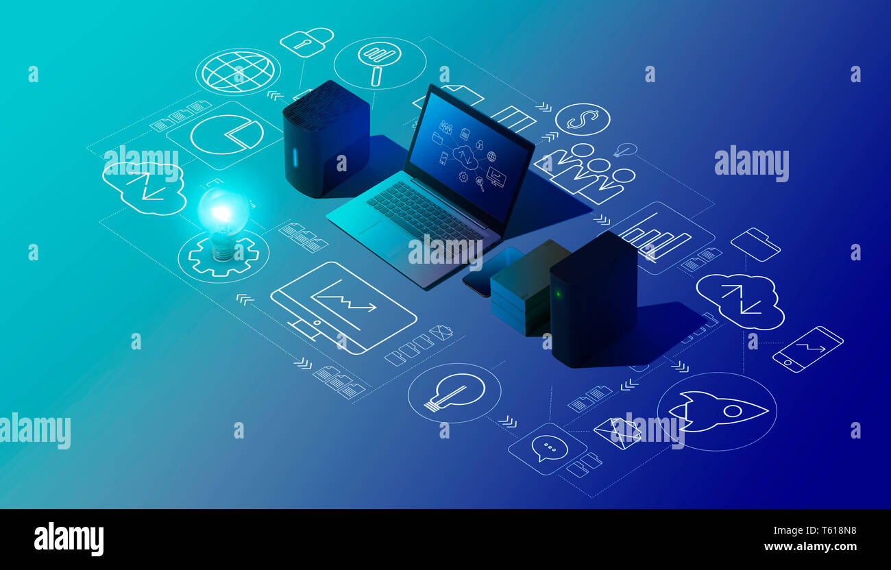 Cloud computing, data transmission, storage and backup concept: isometric computer, servers, hard disks and network of icons Stock Photo