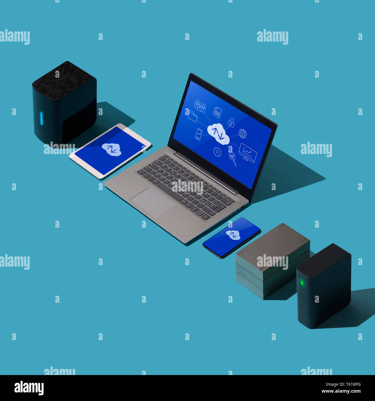 Cloud computing, data transmission, storage and backup concept: isometric computer, servers and hard disks Stock Photo