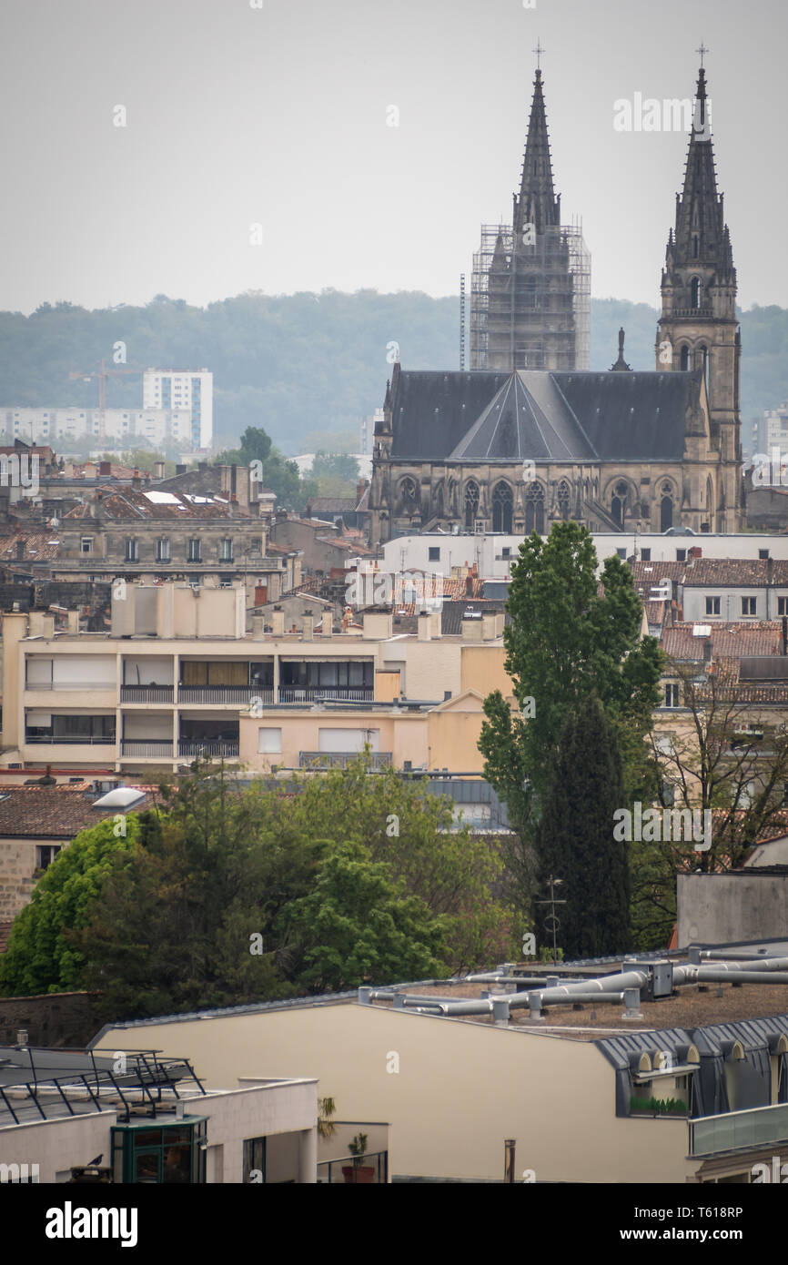 Roofs and cathedral of the city of Bordeaux in France - Stock Image
